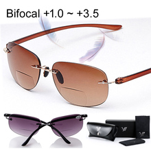 Ultra light Sun Readers Rimless Bifocal Reading Glasses Sunglasses Men Women Reading glass Oculos Gafas De Lectura +1.0 1.5~+3.5