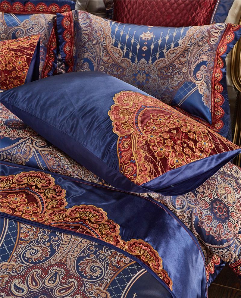 Luxury Bedding Set, Silk Satin Jacquard Bedding Set, Queen, King, Duvet Cover,Bed Linen Flat Sheet Set 29