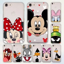 Bunny mickey mouse Bird Daffy Duck design hard Transparent clear Case Cover for Apple iPhone 7 6 6s Plus SE 5s 5c Phone Case