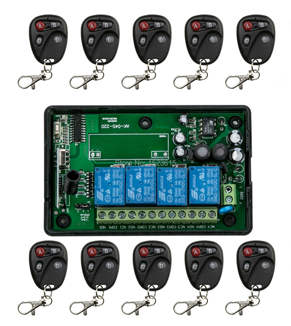 85v~250V 110V 220V 230V 4CH RF Wireless Remote Control Light Switch Security System Garage Doors, Electric Doors<br>