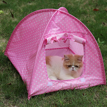 Foldable Dogs Cats Tent House Pets Dirt-resistant Outdoor Camping Home Travel House Pet Tent Home Cat Dog Kennel Cage for Travel(China)