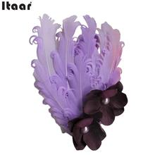 Baby Feather Headband HairBand Headwear Lace Flower Purple Cute For Baby Kids(China)