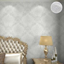 Home Fashion Lace Pattern Royal Cottage Floral Grande Damask 3d Embossed Wallpaper, White / Black / Cream(China)