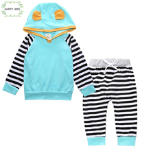 2017 2 pcs. Toddler Baby Boys Girls Clothing Newborn 3D Hooded Tops T-shirt + Striped Pants Outfit Set Clothing 0-18M DXT367(China)