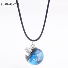 LUBINGSHINE Universe With Glass Round Pendant Necklace Star Wish Charms Jewelry Black PU Leather Necklace For Friendship(China)