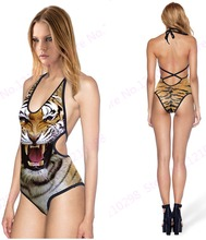 Wild Tiger Swimsuit Sexy One Piece V Neck Swimwear Women Leopard Tiger Halter Bandage One-piece Swimming Suit Backless Cut-out