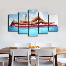 5 Pcs/Set Framed HD Printed Bikini Girl Swimming Picture Wall Art Canvas Print Poster Canvas Oil Painting Abstract Canvas Art