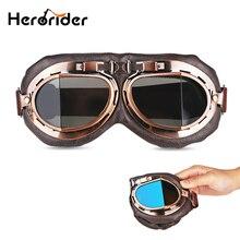 Foldable Aviator Vintage Motorcycle Goggles Motocross Motorbike Pilot Vintage Helmet Goggles Glasses Retro Lens