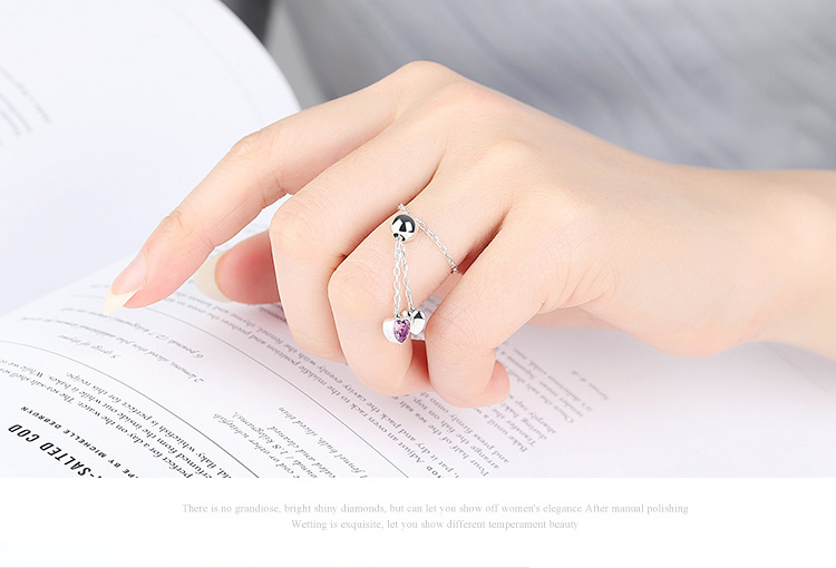 BAMOER Authentic 925 Silver Pink Hearts Clear CZ Finger Women Ring European Fine Sterling Silver Jewelry SCR015