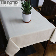 Simple Dandelion Linen Table Cloth Country Style Solid Multifunctional Rectangle Table Cover Tablecloth with Lace Edge