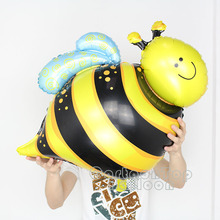 GOOD quality 100pcs/lot big bee foil balloons mylar helium baloes shaped insect globos for holiday party supplies kids toys