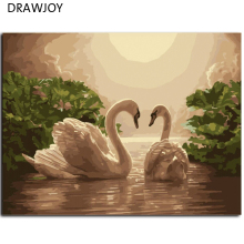 DRAWJOY Framed Digital Oil Painting By Numbers Swan Picture Painting On Canvas DIY Home Decoration Wall Decor Home Decor G275(China)