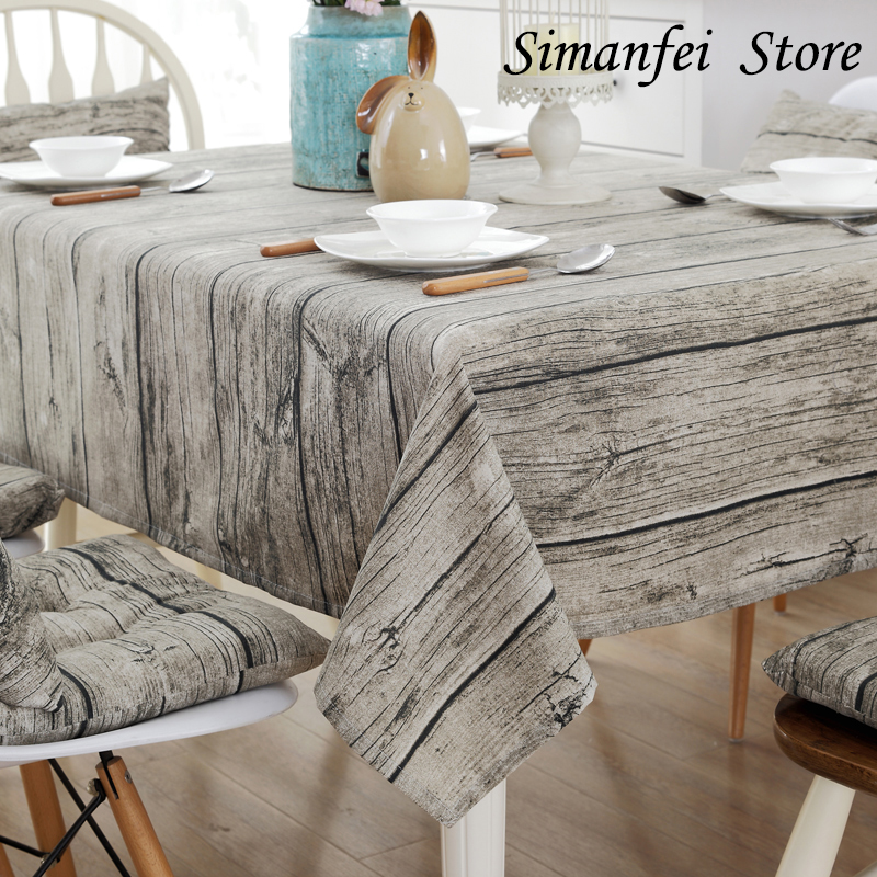 Simanfei Linen Tablecloth Burlap Table Runners Cheap Tablecloths for Sale Wood Grain Simple High Quality Knitted Striped Classic(China (Mainland))