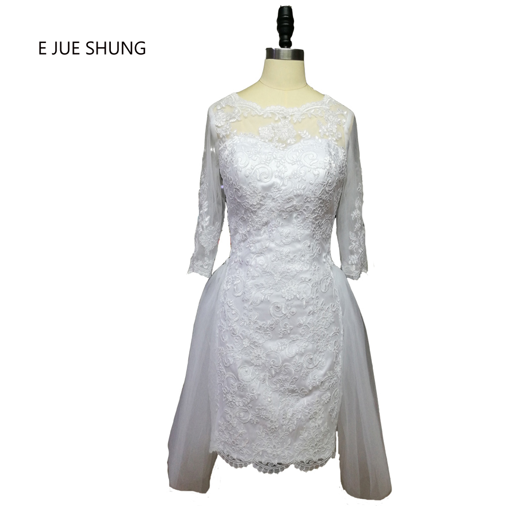 E JUE SHUNG White Lace Appliques Backless Short Wedding Dresses Half Sleeves Arabic Wedding Gowns vestido de noiva curto