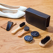 7pcs / set Professional Shoe Care Tool with pu Leather Long Wood Handle Shoe Brushes Shoe Polish Sponge Wipers Cleaning Cloth(China)