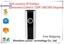 Luckertech Wifi wireless IP FishEye panorama Camera 720P 180/360 Degrees Two-way Audio P2P Mobile Phone Remote home Survillance