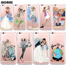 Fashion Sexy Beach Travel Girl Case For iPhone 6 6S 6 Plus 6s Plus 5 5S SE 7 7 Plus Transparent Silicone Phone Back Capa Fundas(China)