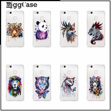 Cases For huawei P8 2017 P8 Line P9 P9 Line Colorful animal tiger cat panda Wolf Watercolor Art Soft Clear TPU Phone Case Cover(China)