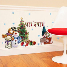 Merry Christmas Wall Stickers Decor Santa Claus Gift Socks Tree Window Wall Stickers Removable Vinyl Wall Decals Xmas Decor EY11(China)