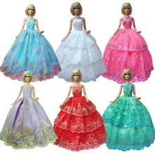 15 Items = 5 Wedding Bride Dress Princess Gown + 5 Pairs Shoes + 5 accessory For Barbie Doll Gift Baby Toy(China)