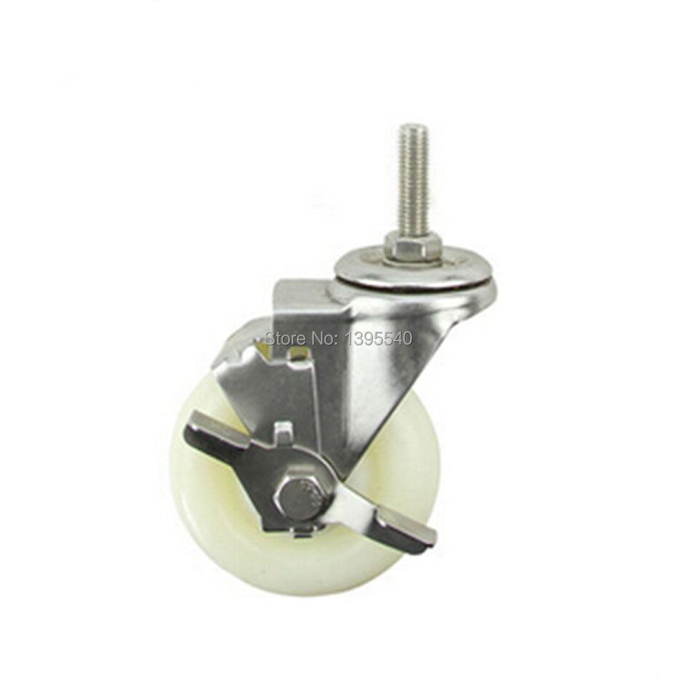 New 4Swivel Wheel Caster Industrial Castor Univeral Wheel Nylon M12 360Degree Rolling Brake Medical Heavy Caster Bearing Wheel<br>