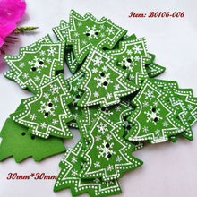 144pcs Green Christmas trees wooden buttons 30mm*30mm Christmas decorative materials scrapbook craft diy sewing accessories