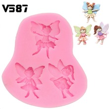 Fondant Cake Fairy Figure Elf Angel Chocolate Mold Silicone Decorating Tools Happy Birthday Decoration Fondant Tools