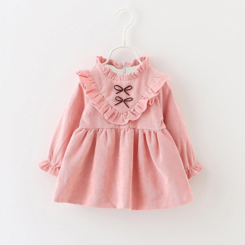 2016 New Fashion Children Dress Long Sleeve Fashion Girls Clothing Baby Costume Floral Lace Bow Winter Warm Girls Princess Dress<br><br>Aliexpress