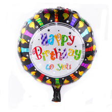 TSZWJ A-011 wholesale 45*45cm round black color happy birthday foil balloon helium balloons for party decoration free shipping(China)