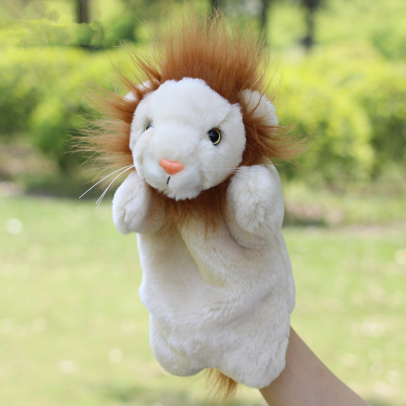 Lovely lion puppet toy animal finger puppets hand puppet fantoches(China (Mainland))