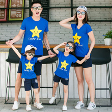 Family Matching Outfit Children's Cotton Short Sleeve T-shirt Luck Star Tee+Shorts 2PCS Kids Set(China)