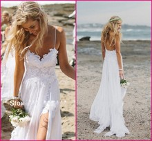 ADLN Stunning Vintage Boho White Beach Wedding Dresses Chiffon Dreamy Spaghtti Straps Backless Front Slit Lace Bridal Gowns
