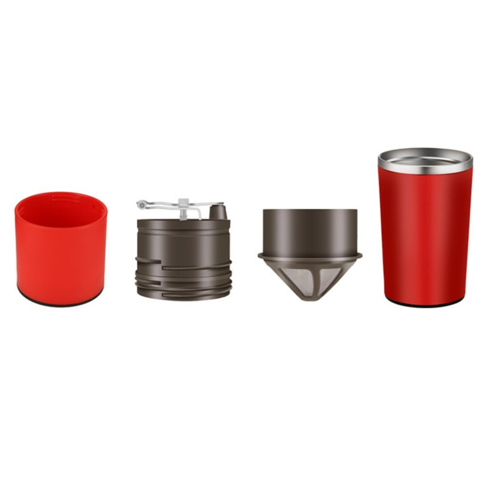 Mini Portable Coffee Machine Red Coffee Maker Manual Coffee Bean Grinder Multifunctional Coffee Grinder For Camping Hiking<br>