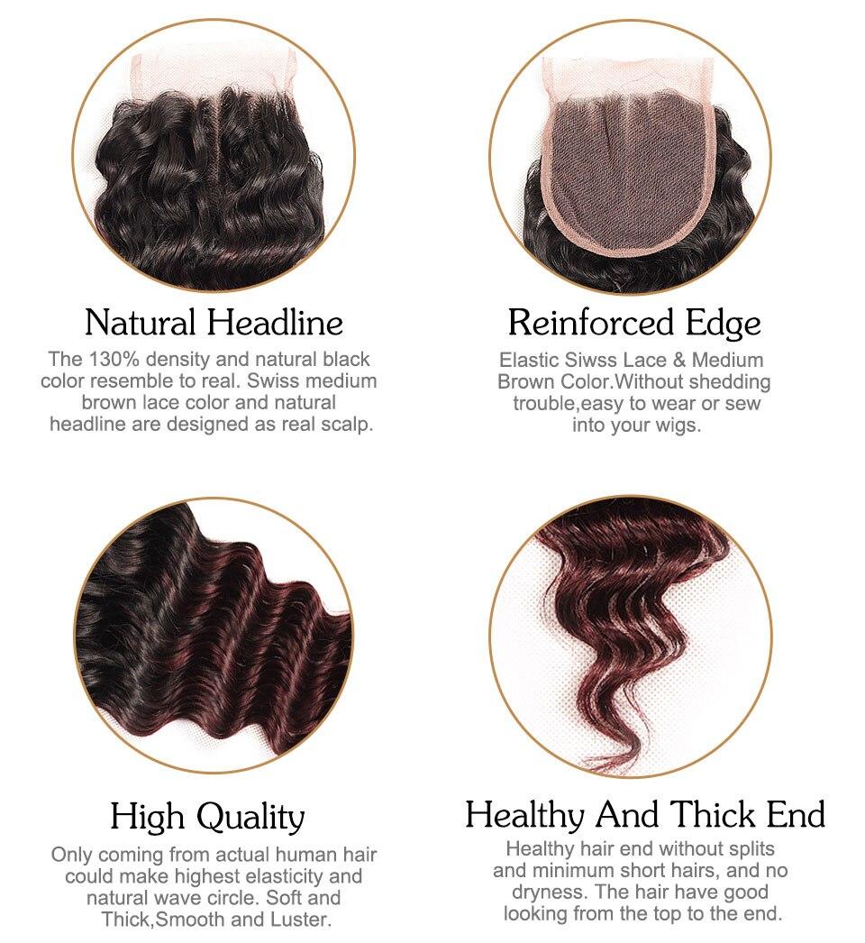 Pinshair Pre-Colored T1BBurg Deep Wave Hair Brazilian 3 Bundles With Closure Non-remy Human Hair Weave Bundles With Closure (12)