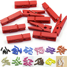 20pcs/lot Mini Colored Spring Wood Clips Clothes Photo Paper Peg Pin Clothespin Craft Clips Party Decoration High Quality
