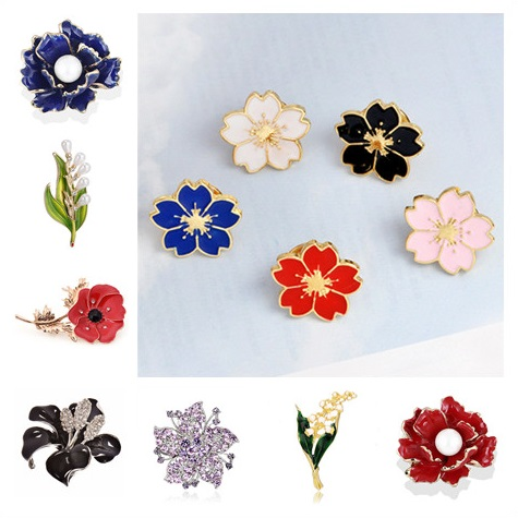 New Rhinestone Flower Brooches For Women Men Crystal Bridal Wedding Party Bouquet Brooch Pin Fashion Jewelry Gift Mluti Style