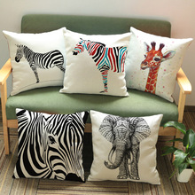 African Animals Print Pillowcase Elephant Zebra Giraffe Living Room Decoration Sofa Cushion Cover Tropical Animals Pillow Cover(China)