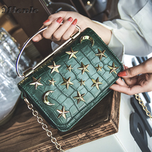MTENLE Crocodile Pattern Crossbody Bag For Women Stars Moon Messenger Bags Girl Metal Ring Hand Bags Chain Female Shoulder Bag F