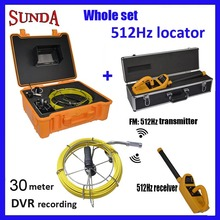 "Drain sewer pipe inspection camera with512hz locator sonde dvr fiberglass cable 30m cable w/7""tft screen monitor borescope cam"