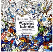 1 PCS 24 Pages English Version Wonderland Exploration Coloring Book For Adult Relieve Stress Graffiti Drawing Art Book(China)