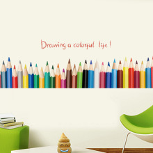 Colorful Pencils  Wall Sticker Mural Removable Waterproof Decorative Wall Corner Decals Kid's Living Room Bathroom Decoration