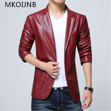 New 2017 Design Men's Jacket Spring&Autumn PU Leather Black&White red Fashion Slim Solid Man's Jackets  Higth Quality Hot Sell