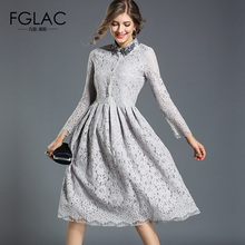 Buy FGLAC Women clothing New 2018 Spring Fashion Elegant Women dress Elegant Slim high waist hollow lace dress Vintage vestidos for $29.14 in AliExpress store
