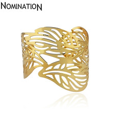 Slave Bangles Cuff Bracelets Gold Color Exaggerated Hollow Leaves Shape Alloy Wide Big Bangles Hot Sale Bijoux For Women Gift(China)