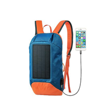 Wholesale 100 piece / lot New Design External Frame Polyester School Student Solar Backpack With Usb Charger Port And Light(China)