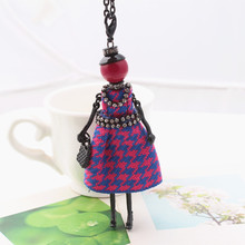 Hot sale!Handmade lovely winter cotton dress doll Necklace women jewelry store Christmas gift jewelry accessories free shipping
