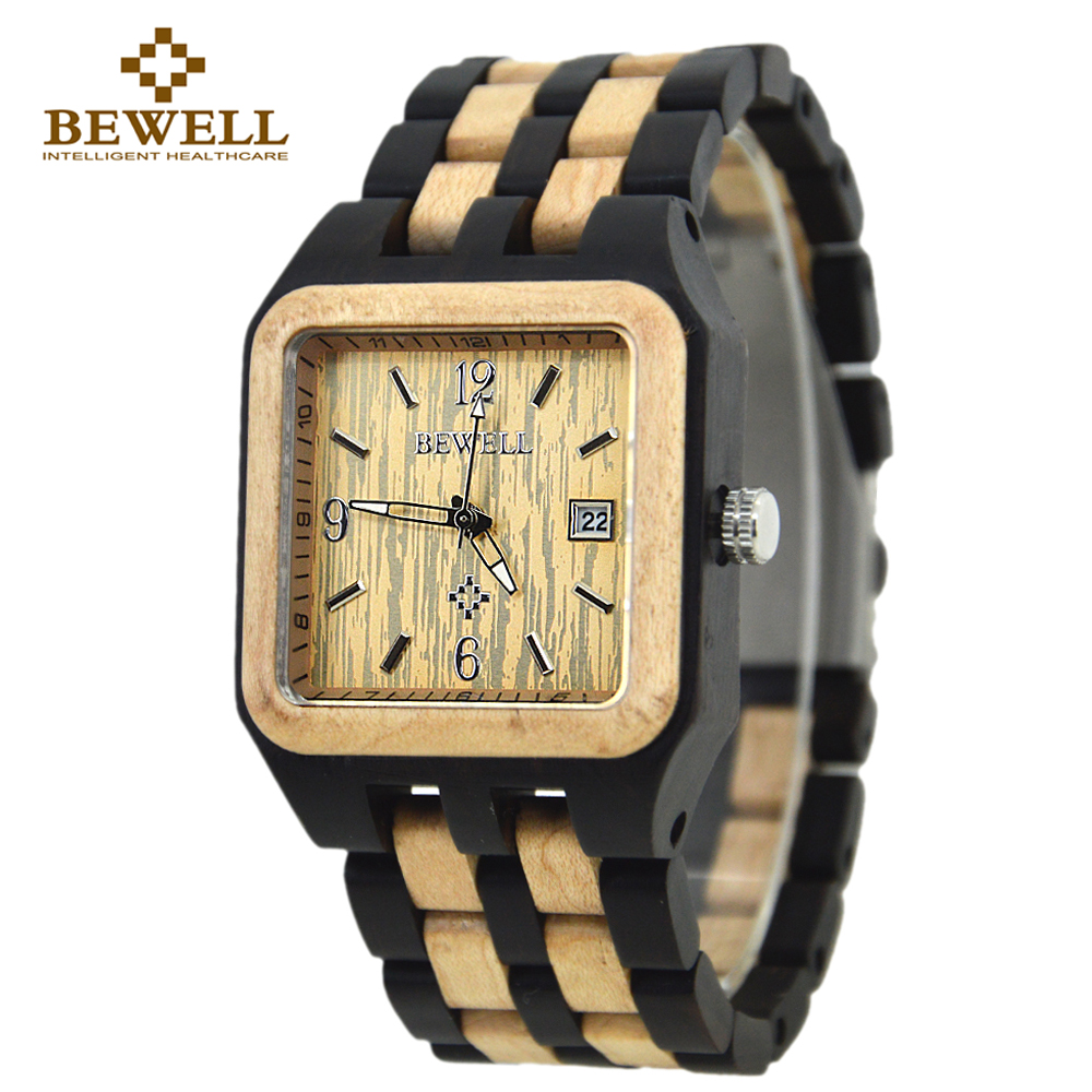 BEWELL Quartz Wood Watch Men Wooden Square Dial Auto Date Box Watch Rectangle Men Luxury Brand 2016 Relogio Masculino 111A<br>