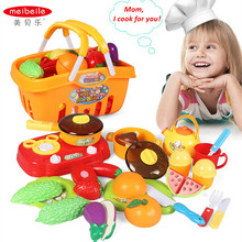 meibeile Children Pretent Play Cutting Fruits Vegetables Cooking Food Kitchen Toys for Kids Girls 21PCS with Basket Xmas Gifts