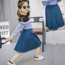 Girls Solid Denim skirt Knee length Pleated tassel drop skirt Fashion Kids girl;s Ruched lovely Cowboy jeans washed Pettiskirt