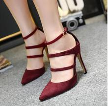 11CM Heels New High-heeled Shoes Women Sexy Pointed Toe Stiletto Suede PU Pumps Ladies Party Wedding Shoes Nude/ Black /Wine Red